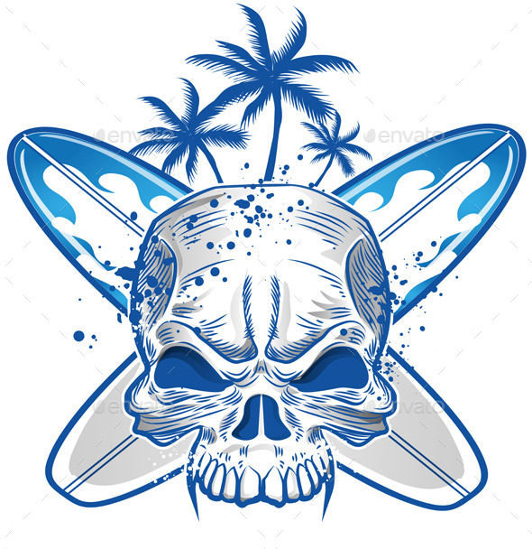 GraphicRiver Skull on Surfboard Background 11300780