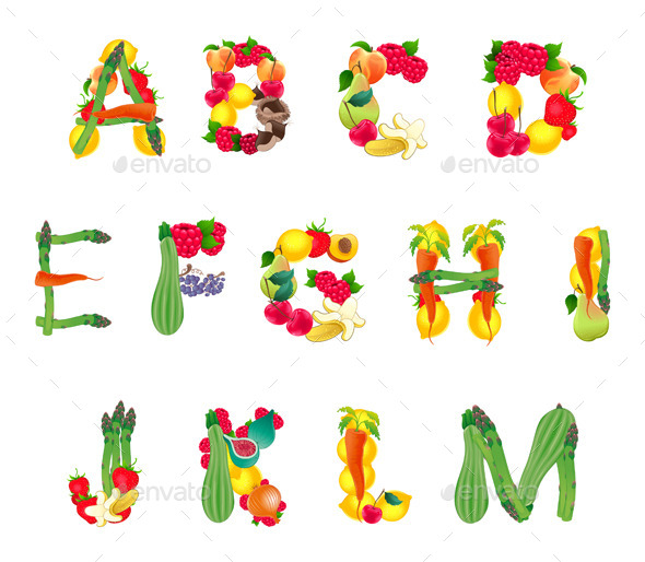GraphicRiver Alphabet Composed by Fruits and Vegetables 11300851