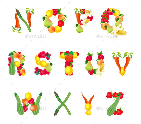 GraphicRiver Alphabet Composed by Fruits and Vegetables 11300901