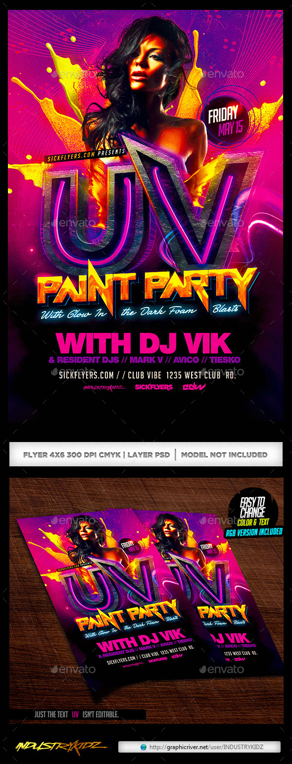 GraphicRiver UV Paint Party Flyer 11300945