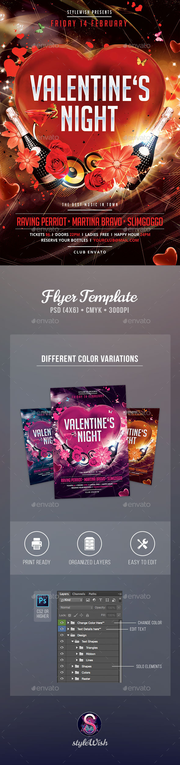 Valentines Night Flyer - Clubs & Parties Events