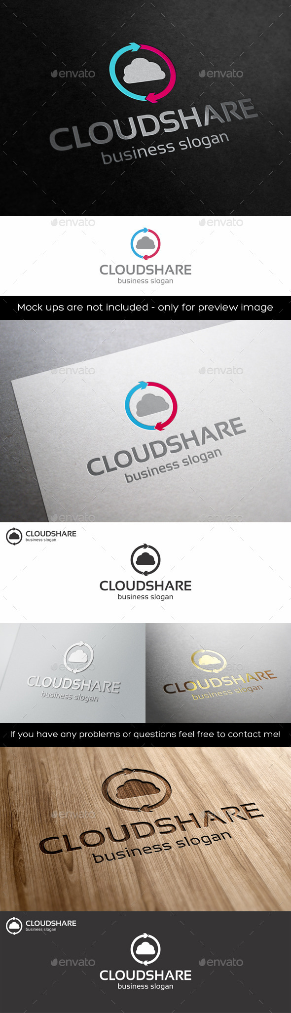 GraphicRiver Cloud Share Logo Template 11301100
