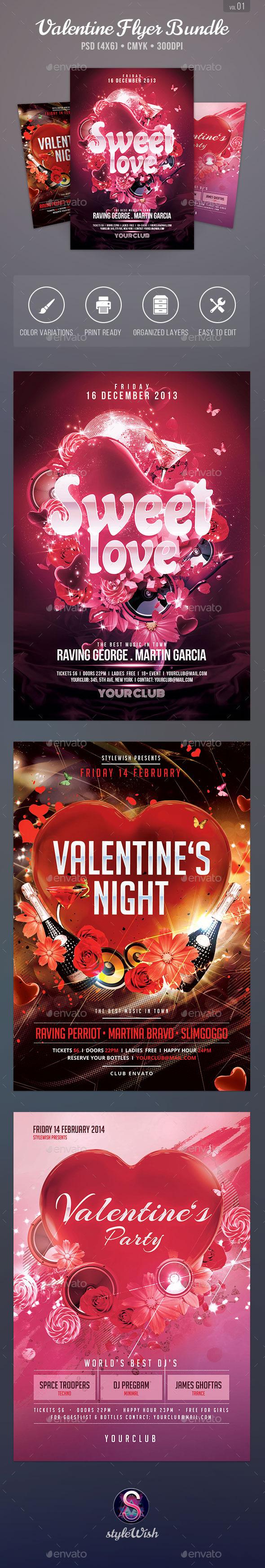 Valentine Party Flyer Bundle - Clubs & Parties Events