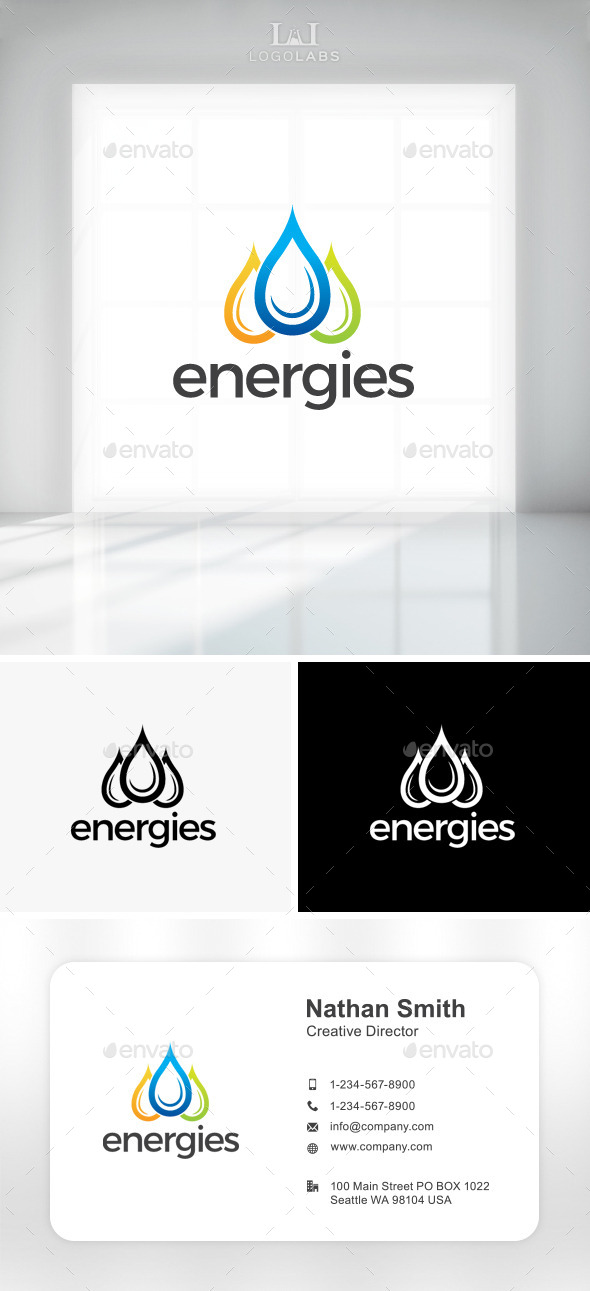 GraphicRiver Energies Water Drops Logo 11301464