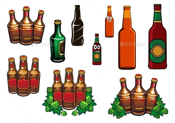 GraphicRiver Cartoon Glass Beer Bottles With Blank Labels 11301545