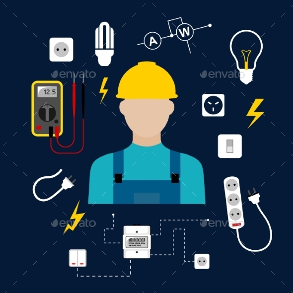 GraphicRiver Professional Electrician With Electric Tools 11301555