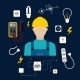 Professional Electrician With Electric Tools - GraphicRiver Item for Sale