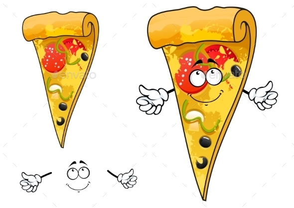 GraphicRiver Cute Cartoon Thin Slice Of Pizza Character 11301558
