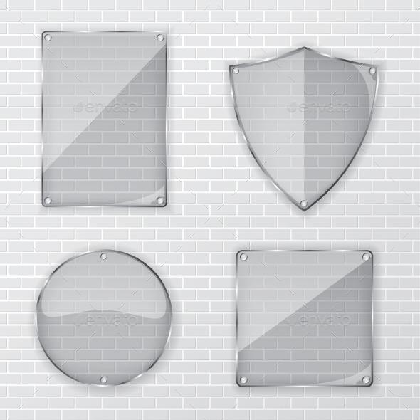 GraphicRiver Glass Frame on Brick Wall 11301568