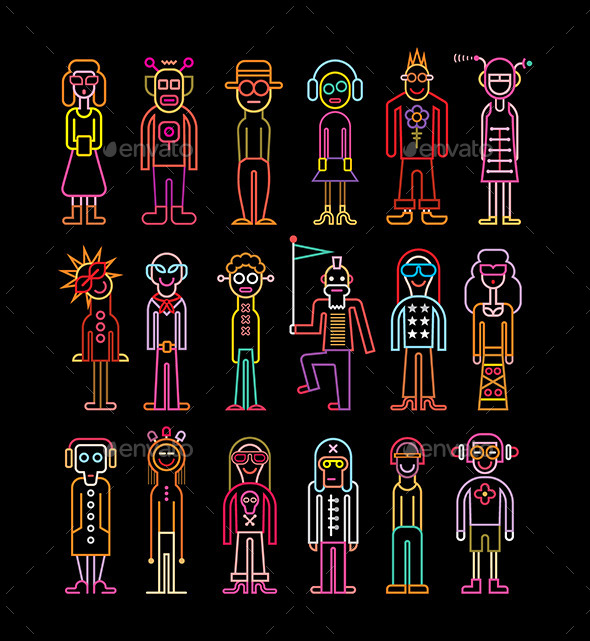 GraphicRiver Neon People Icon Set 11301592
