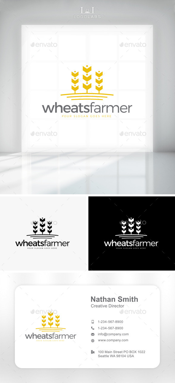 GraphicRiver Wheats Farmer Logo 11301594