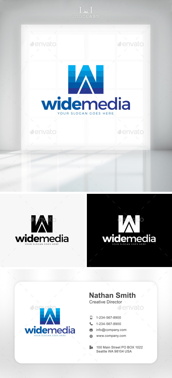GraphicRiver Wide Media Letter W Logo 11301602