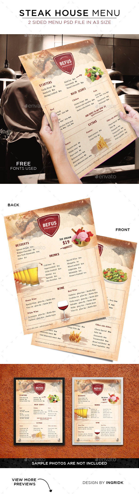 GraphicRiver Steak House Menu 2 sided 11301626
