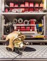 Modern Golden Fire Brigade Helmet with Hoses - PhotoDune Item for Sale