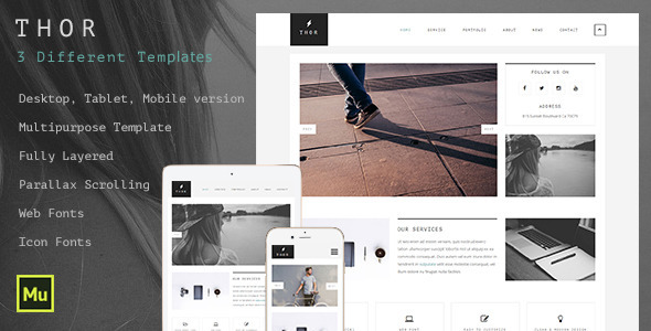 ThemeForest Thor Creative Multipurpose Muse Template 11303656
