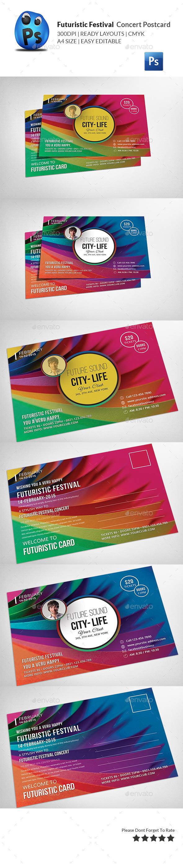 GraphicRiver Futuristic Festival Concert Postcard 11304604
