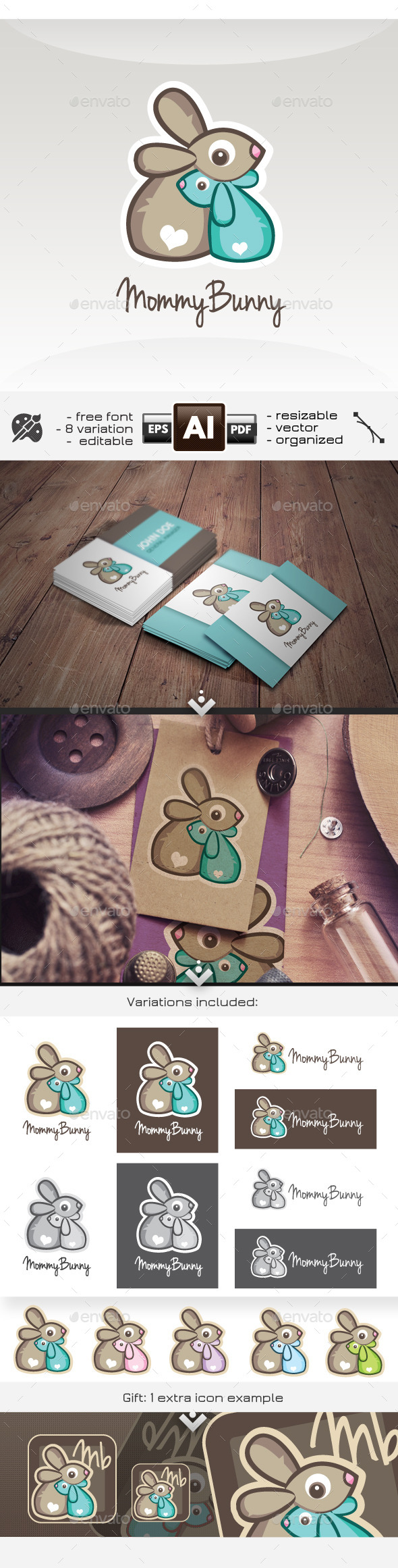 GraphicRiver Mommy Mother Bunny Childcare Rabbit Logo 11298645