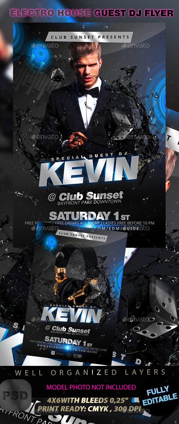 GraphicRiver Electro House Guest Dj Flyer Template 11305060