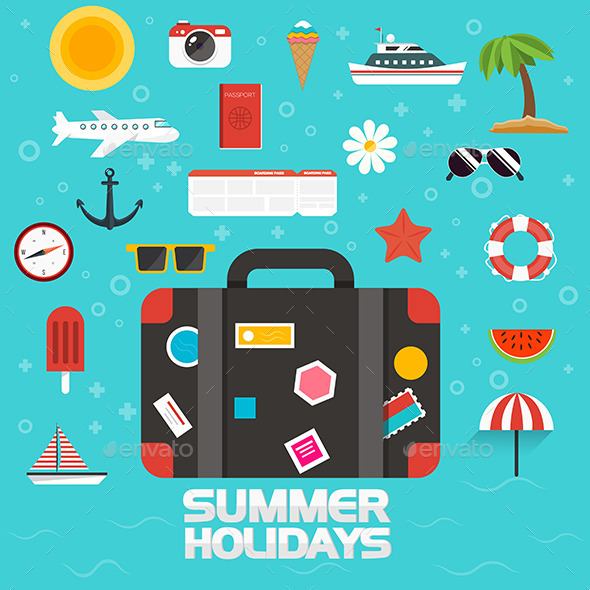 GraphicRiver Flat Design Summer Icons 11305821