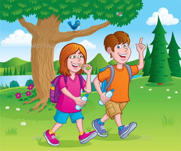GraphicRiver Teens Hiking by a Lake 11305923