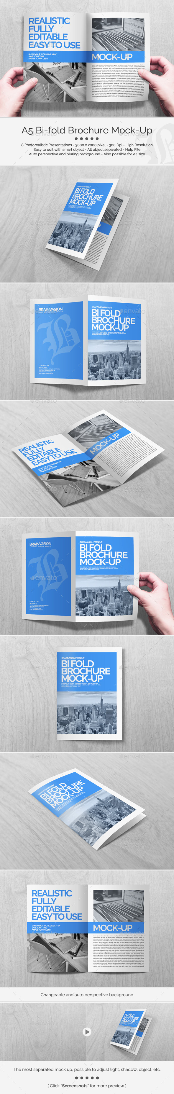 GraphicRiver A5 Bi-fold Brochure Mock-Up Set 11269416