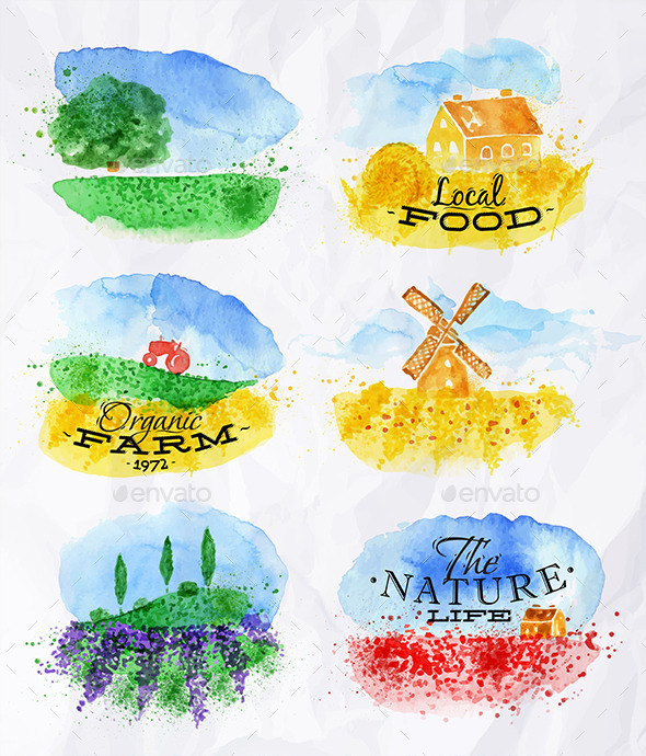 GraphicRiver Watercolor Landscapes Symbols 11306471