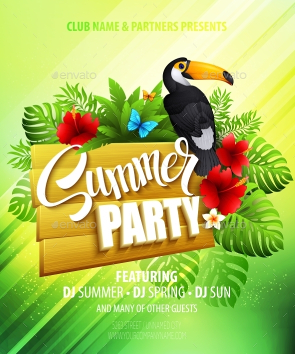 GraphicRiver Summer Party Template Poster Vector Illustration 11306483