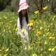 Girl Walk In Flowers  - VideoHive Item for Sale
