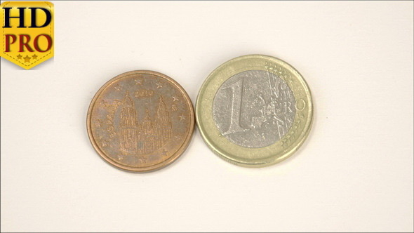 Two Spain Euro Coins 2010 Version and a 1 Euro