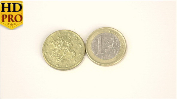 A 2000 Version of a Finnish Euro Coin and a 1 Euro