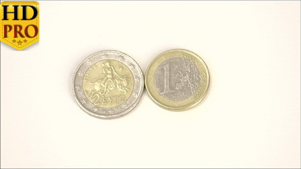 Two Greece Euro Coins 2 Euro and 1 Euro