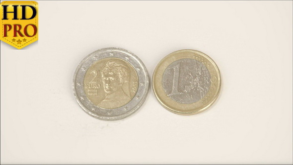 A 2 Austian Euro Coin and 1 Austria Euro Coin