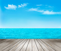 Nature background with a wooden deck, the sea and the sky. - PhotoDune Item for Sale