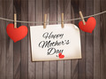 Retro holiday mother day background with red paper hearts on wooden texture.  - PhotoDune Item for Sale