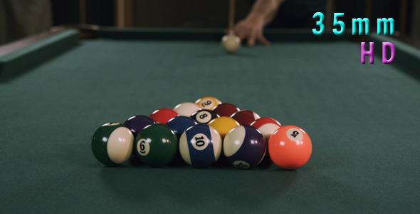 Billiards Poll Table Break Shot