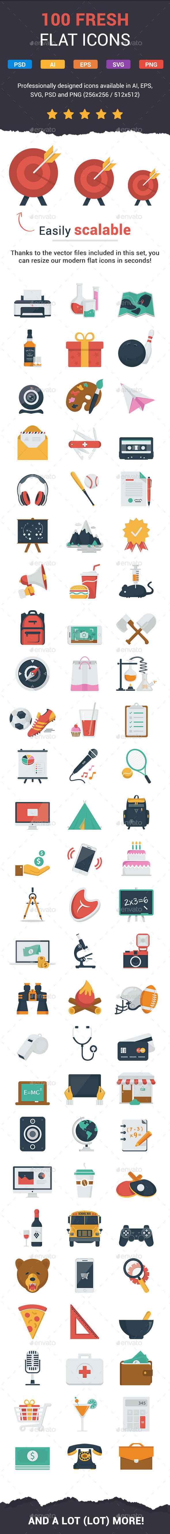 GraphicRiver 100 Fresh Flat Icons 11308669