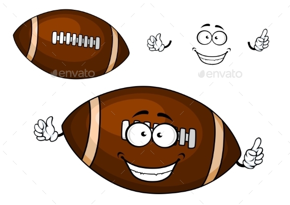 GraphicRiver Cartoon Brown Rugby Ball Mascot Character 11308786