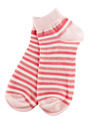Pink and white striped socks
