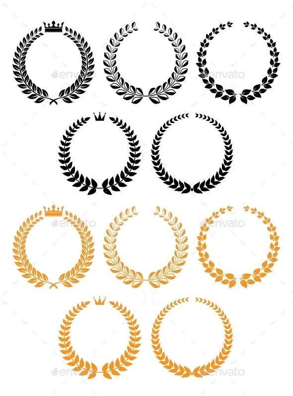 GraphicRiver Golden And Black Laurel Wreaths With Crowns 11308791