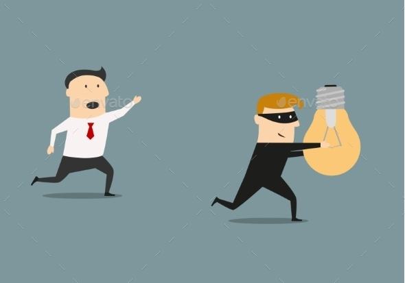 GraphicRiver A Thief Stealing Idea From Businessman 11308794