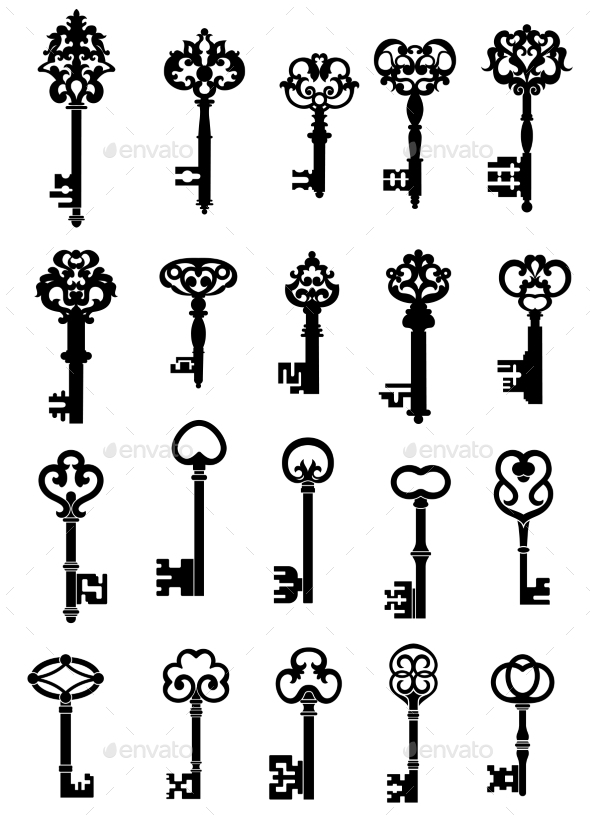 GraphicRiver Vintage Keys With Intricate Bits And Ornate Bows 11308797