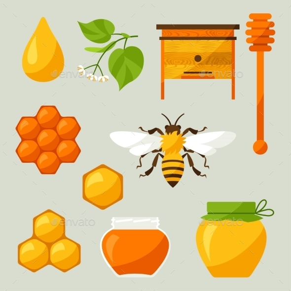 GraphicRiver Set Of Honey And Bee Objects 11309112