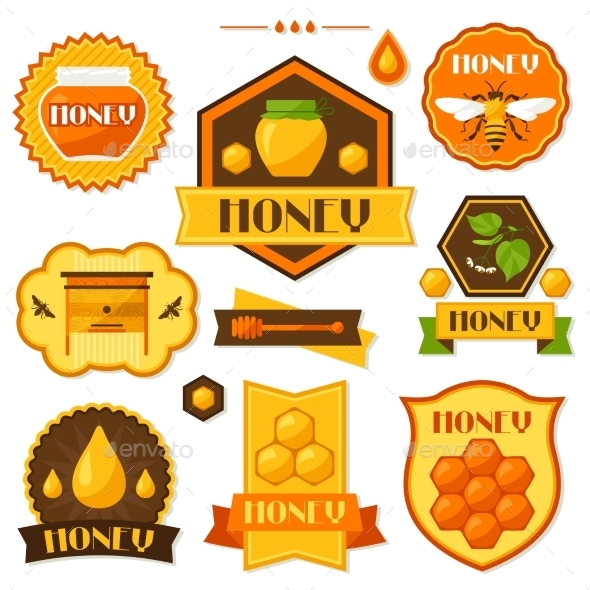 GraphicRiver Set Of Honey And Bee Labels Badges Emblems 11309114