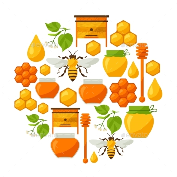GraphicRiver Background Design With Honey And Bee Objects 11309115