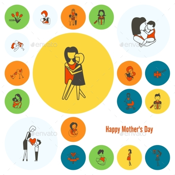 GraphicRiver Happy Mothers Day Icons 11309229