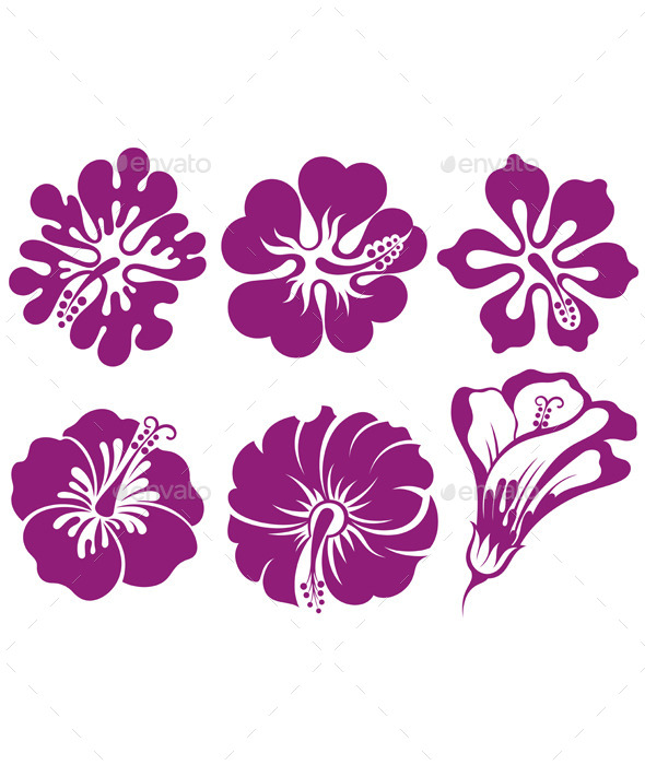 GraphicRiver Hibiscus Silhouettes Vector Set 11309234