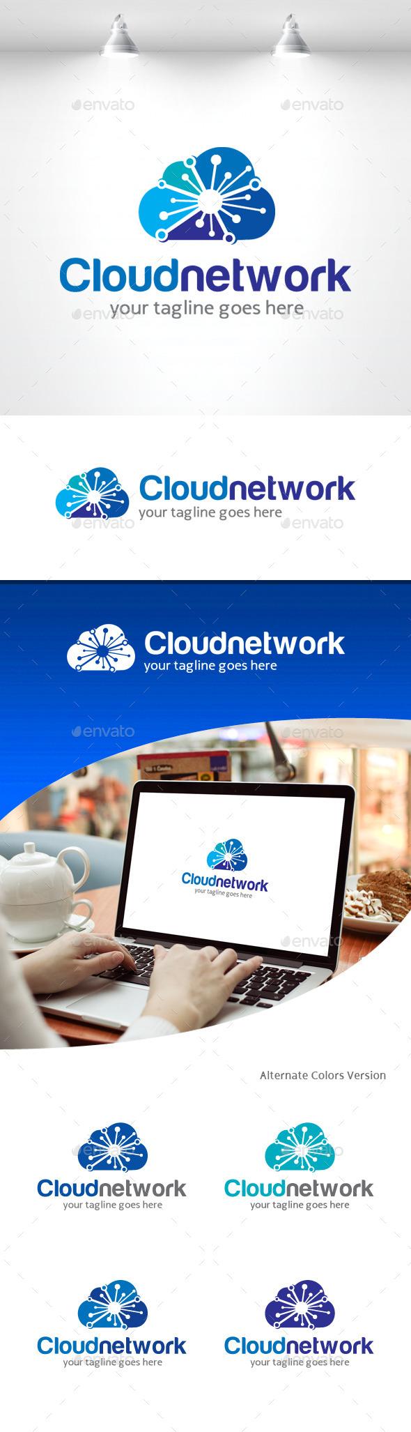 GraphicRiver Cloud Network Logo 11309357