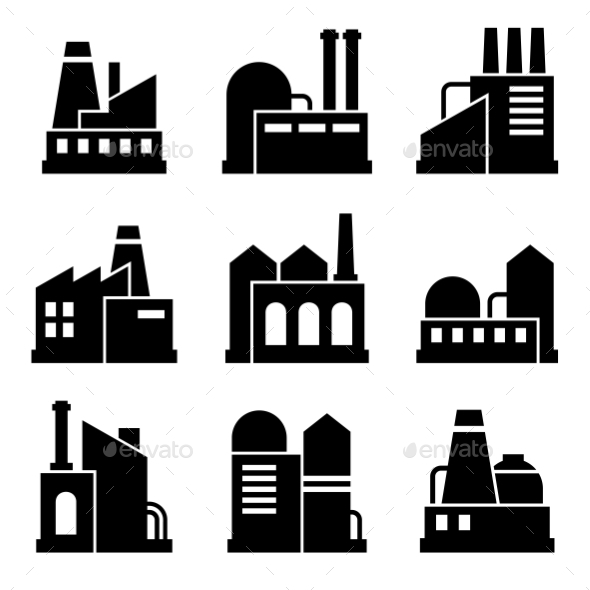 GraphicRiver Factory And Power Industrial Building Icon Set 11309453