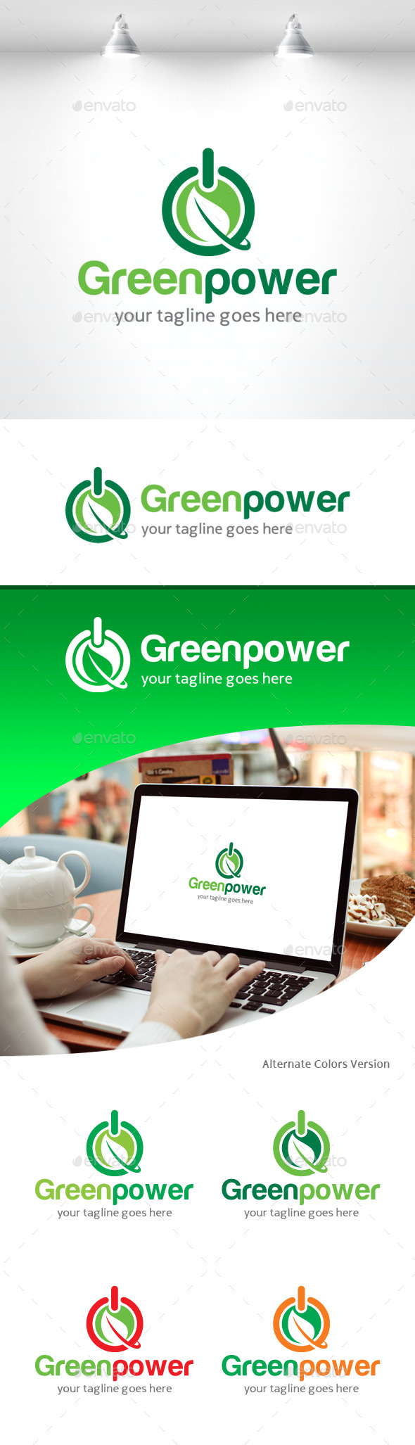 GraphicRiver Green Power Logo 11309516