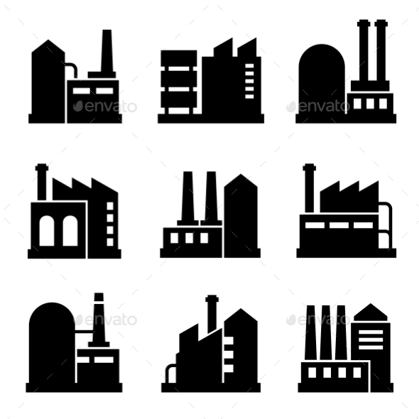 GraphicRiver Factory And Power Industrial Building Icon Set 2 11309603